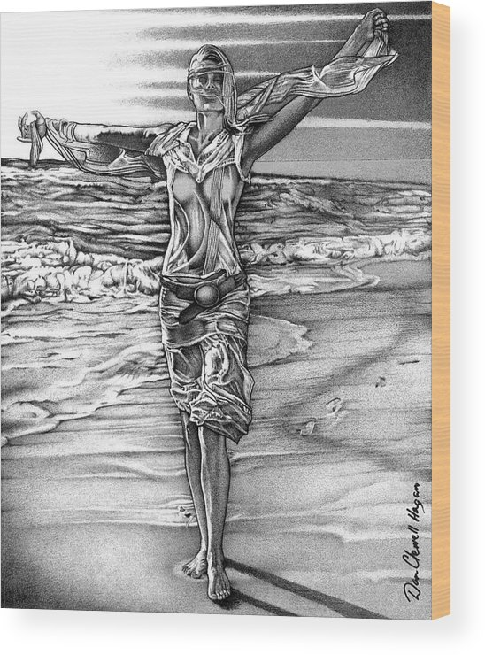 Female Wood Print featuring the drawing Woman With Arms Up by Dan Clewell