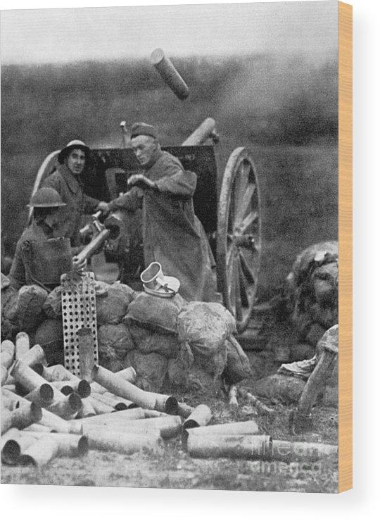 1918 Wood Print featuring the photograph World War I: U.s. Artillery by Granger