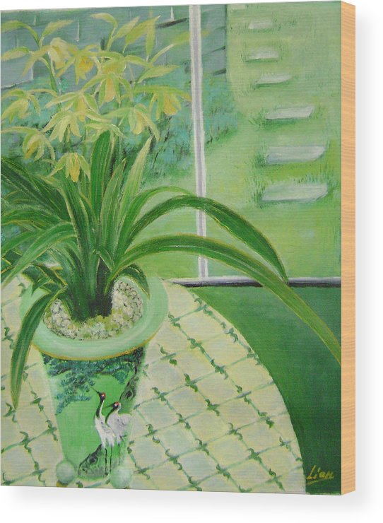 Floral Wood Print featuring the painting Yellow Orchids by Lian Zhen
