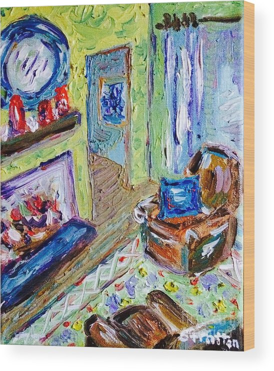 Impressionist Wood Print featuring the painting Yellow Room by Julie Stratton