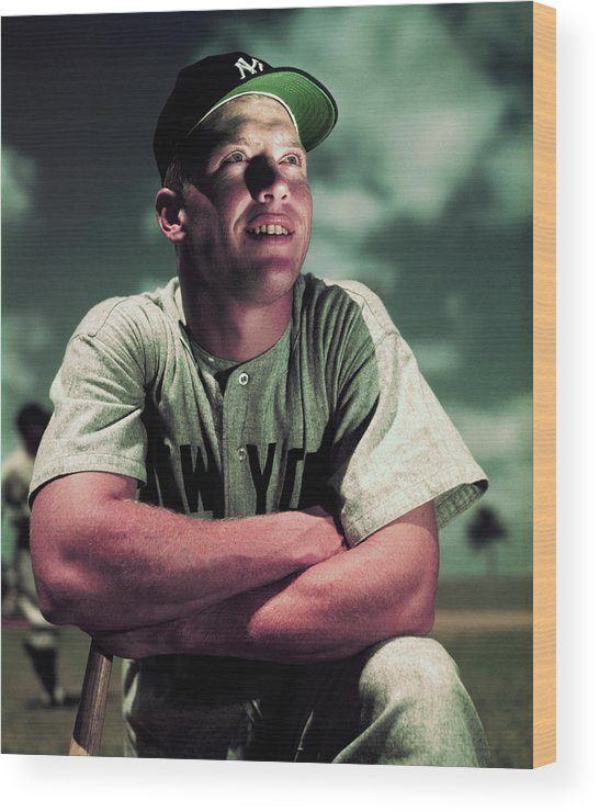 People Wood Print featuring the photograph Baseball Player Mickey Mantle by Bettmann