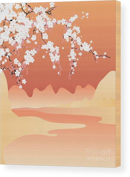 Love Wood Print featuring the digital art Vector Japan Background by Buketgvozdey