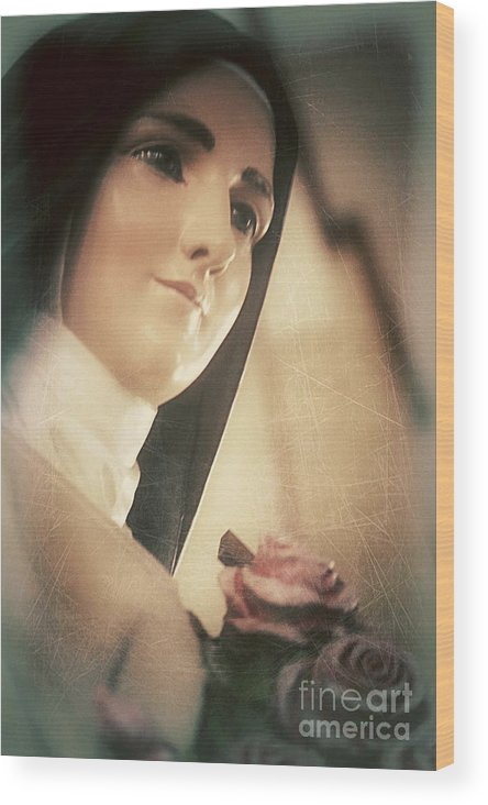 Statue Wood Print featuring the photograph St. Therese by Trish Mistric