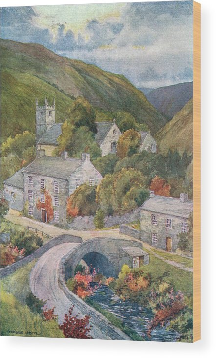 Yorkshire Wood Print featuring the drawing Yorkshire Scenery Muker In Swaledale by Mary Evans Picture Library