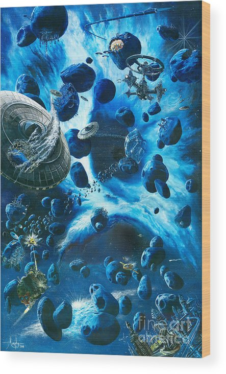 Asteroid Wood Print featuring the painting Alien Pirates by Murphy Elliott