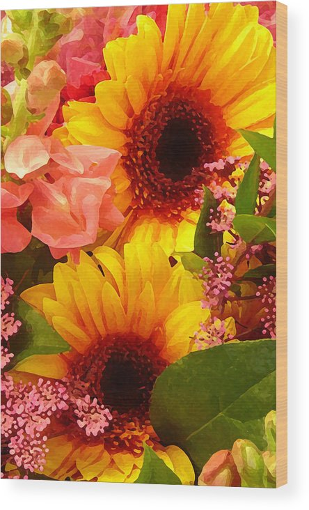Floral Wood Print featuring the painting Bright Spring Flowers by Amy Vangsgard