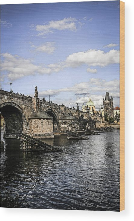 Charles Wood Print featuring the photograph Charles Bridge Prague by Chris Smith
