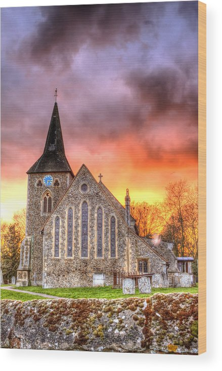 Architecture Wood Print featuring the photograph Church And Graveyard At Dusk by Fizzy Image