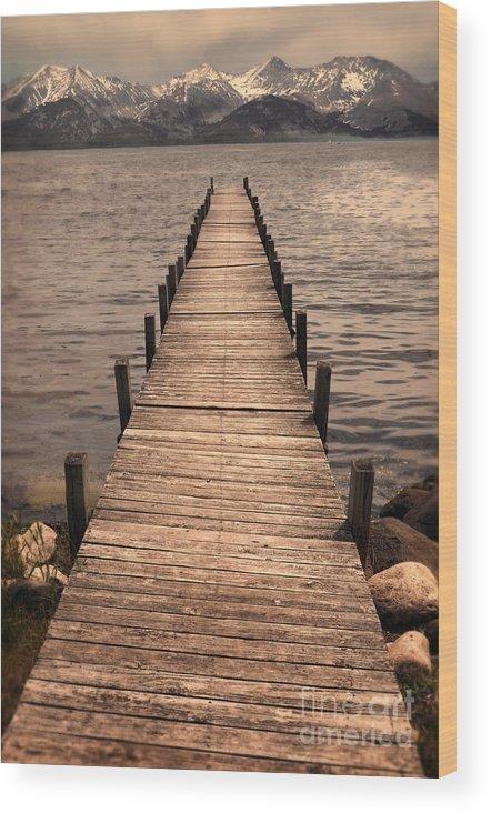 Dock Wood Print featuring the photograph Dock On Mountain Lake by Jill Battaglia