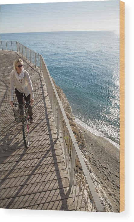 Woman Wood Print featuring the photograph Elevated Perspective Of Woman Riding by Philip & Karen Smith / TFA