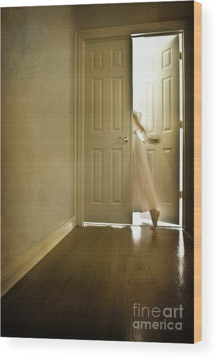 Memory; Woman; Female; Lady; Ghost; Caucasian; Dress; Pink; Flowing; Blur; Foot; Barefoot; Door; Doorway; Wood Floors; Closed; Open; Going Into The Light; Light; Bright; Heaven; Death; Wall; House; Home; Indoors; Inside; Hall; Foyer; Walking; Conceptual Wood Print featuring the photograph Entrance by Margie Hurwich