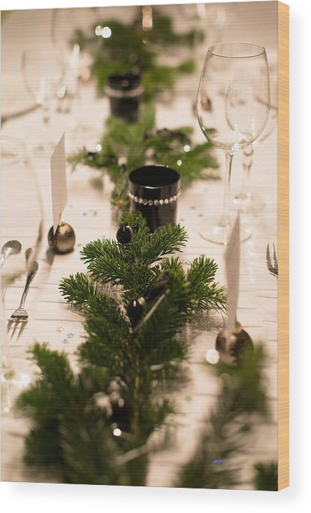 Christmas Wood Print featuring the photograph Festive Xmas Table by Frank Gaertner