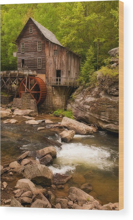 Babcock Wood Print featuring the photograph Glade Creek Grist Mill by Michael Blanchette