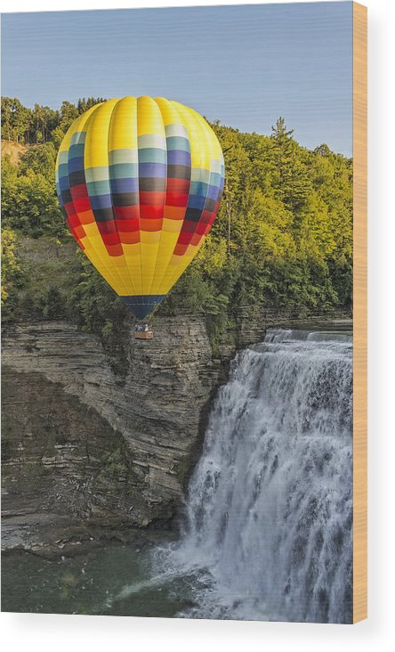 Hot Air Balloon Wood Print featuring the photograph Hot Air Ballooning Over The Middle Falls At Letchworth State Par by Jim Vallee