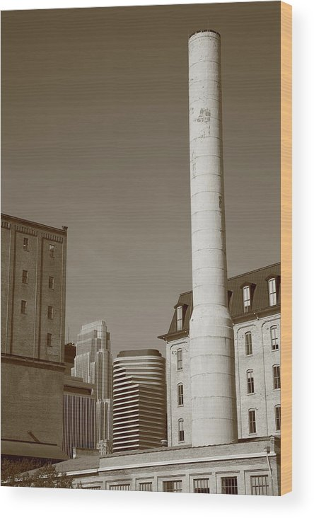 America Wood Print featuring the photograph Minneapolis Smokestack by Frank Romeo