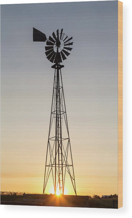 Chuck Haney Wood Print featuring the photograph Old Windmill At Sunset Near New by Chuck Haney