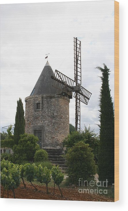 Mill Wood Print featuring the photograph Old Provencal Windmill by Christiane Schulze Art And Photography