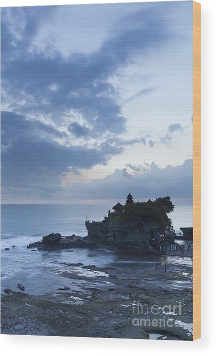 Asia Wood Print featuring the photograph Pura Tanah Lot Temple At Sunset In Bali by Roberto Morgenthaler