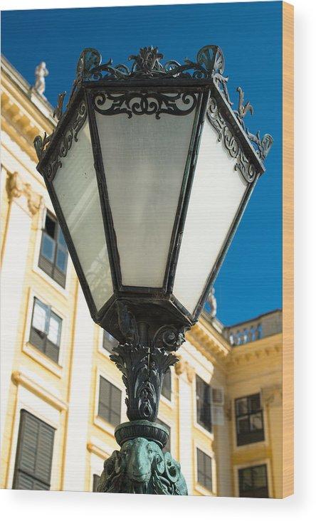 Streetlamp Wood Print featuring the photograph Schoenbrunn Palace - Vienna - Austria by Frank Gaertner