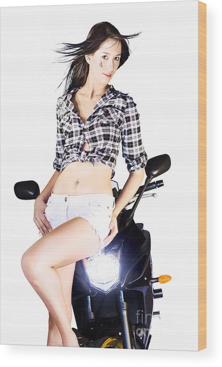 Active Wood Print featuring the photograph Sexy Biker Girl by Jorgo Photography - Wall Art Gallery