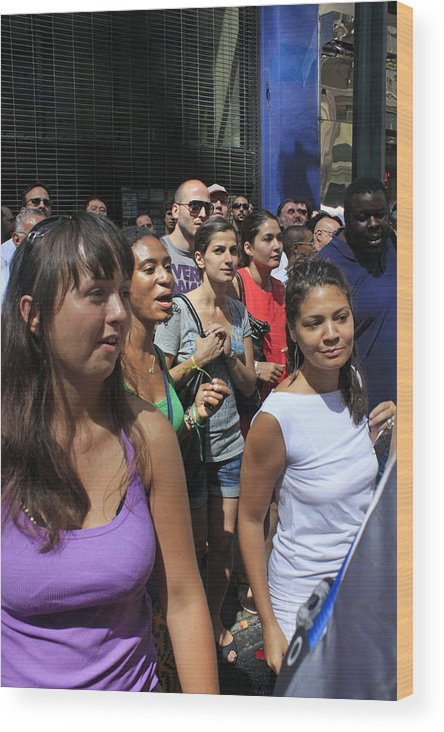 Festival Wood Print featuring the photograph Some Young Ladies Enjoying The 2009 Cleansing Of 46th Street by James Connor