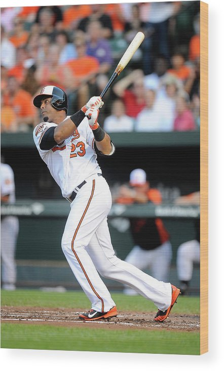 American League Baseball Wood Print featuring the photograph Texas Rangers V Baltimore Orioles 1 by Greg Fiume