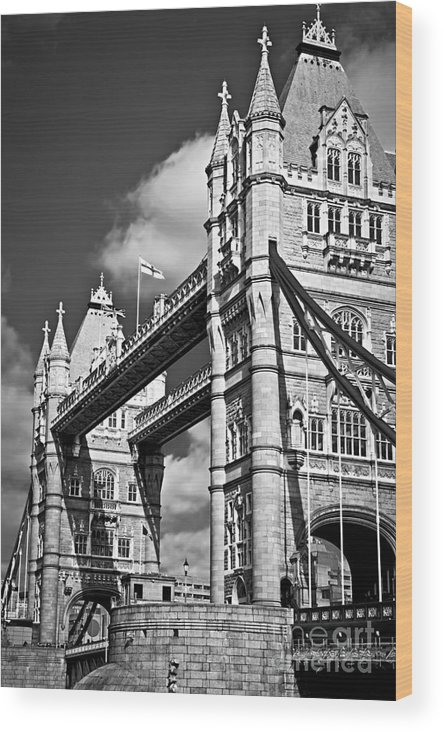 Tower Wood Print featuring the photograph Tower Bridge In London by Elena Elisseeva