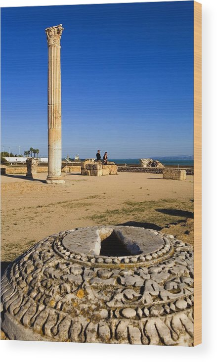 Vertical Wood Print featuring the photograph Tunisia. Carthage. The Baths by Everett