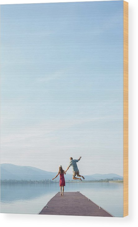 Copy Space Wood Print featuring the photograph Young Couple Running And Playing by Wood Wheatcroft