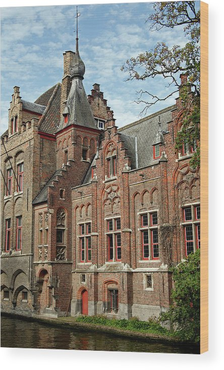 Architecture Wood Print featuring the photograph Europe, Belgium, Bruges by Kymri Wilt