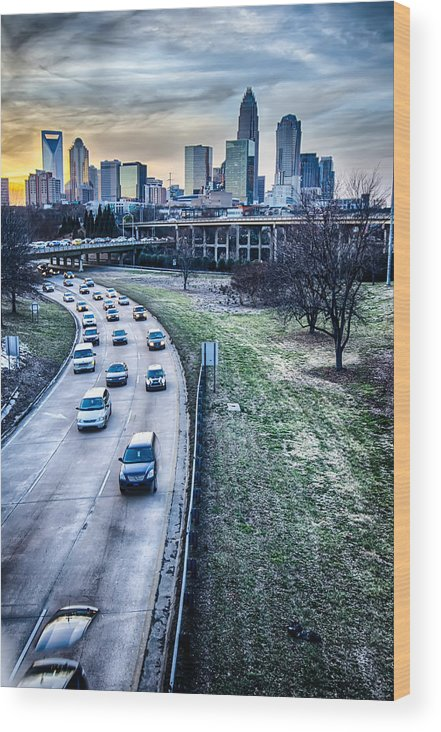 Sunset Wood Print featuring the photograph Charlotte Downtown by Alex Grichenko