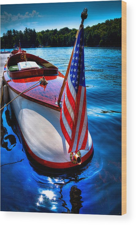1903 Leighton Wood Print featuring the photograph 1903 Vintage Leighton Boat by David Patterson