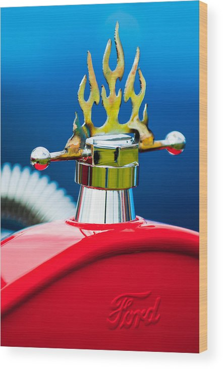 1923 Ford T-bucket Wood Print featuring the photograph 1923 Ford T-bucket Aftermarket Hood Ornament by Jill Reger