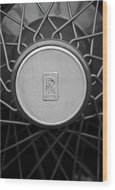 1928 Rolls-royce Wood Print featuring the photograph 1928 Rolls-royce Spoke Wheel by Jill Reger