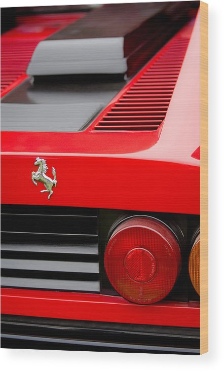 1979 Ferrari Taillight Emblem Wood Print featuring the photograph 1979 Ferrari Taillight Emblem -0378c by Jill Reger