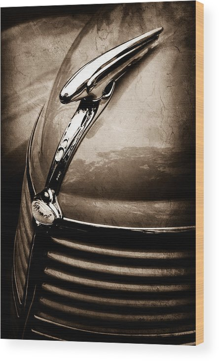 1938 Ford Hood Ornament Wood Print featuring the photograph 1938 Ford Hood Ornament by Jill Reger