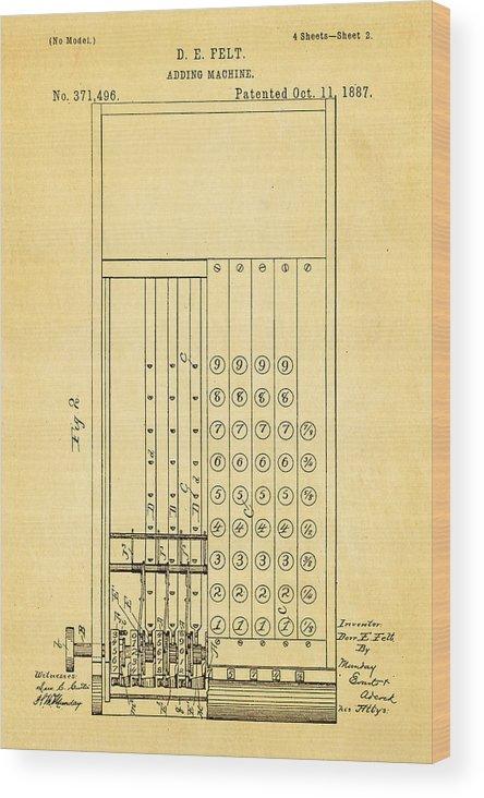 Office Wood Print featuring the photograph Felt Adding Machine Patent Art 1887 by Ian Monk