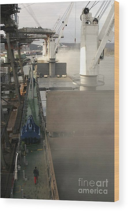 Bulk Carrier Wood Print featuring the photograph Grain Cargo Port, Rouen, France by Andrew Wheeler