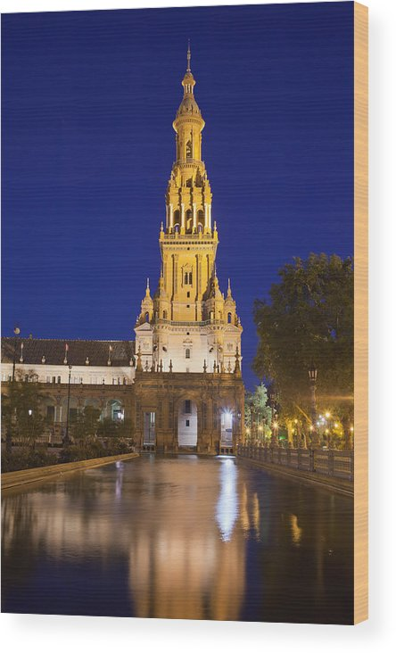 Plaza Wood Print featuring the photograph Plaza De Espana Tower In Seville by Artur Bogacki