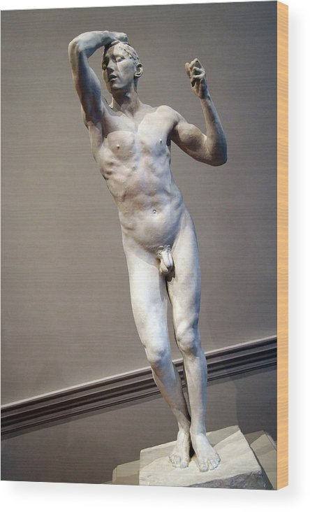 The Wood Print featuring the photograph Rodin's The Vanguished -- 1 by Cora Wandel