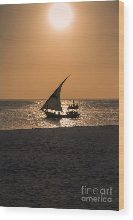Africa Wood Print featuring the photograph Sunset In Zanzibar by Pier Giorgio Mariani
