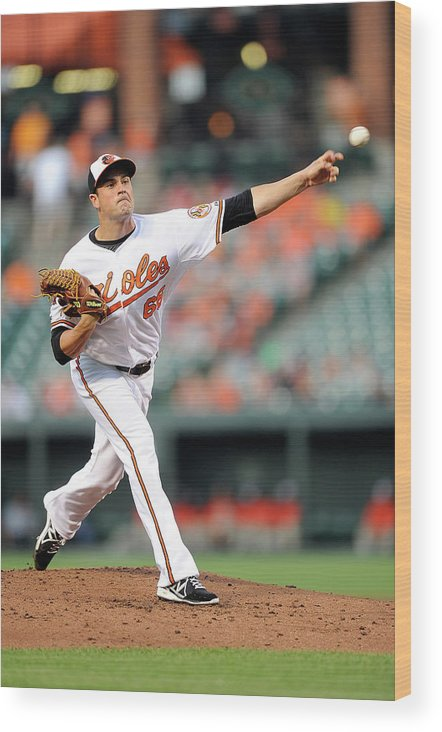 T.j. Mcfarland Wood Print featuring the photograph Texas Rangers V Baltimore Orioles by Greg Fiume