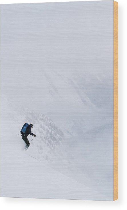 30's Wood Print featuring the photograph Young Man Skiing In Deep Powder by Henry Georgi