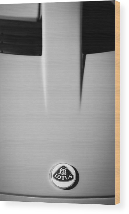 2005 Lotus Elise Wood Print featuring the photograph 2005 Lotus Elise -0580bw by Jill Reger