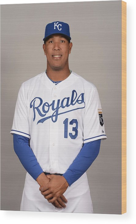 Media Day Wood Print featuring the photograph 2014 Kansas City Royals Photo Day by Robert Binder