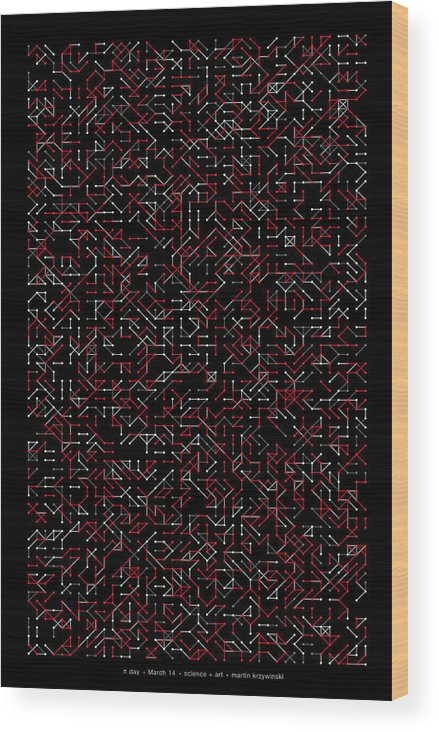 Pi Wood Print featuring the digital art 2800 Digits Of Pi Phi And E by Martin Krzywinski