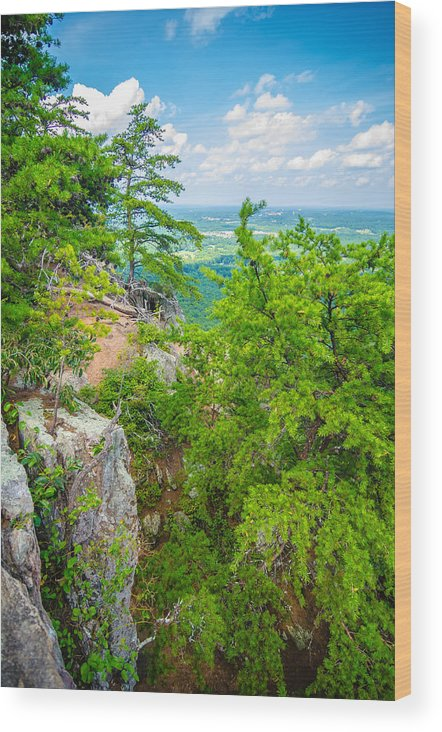 Aerial Wood Print featuring the photograph Beautiful Aerial Landscape Views From Crowders Mountain North Ca by Alex Grichenko