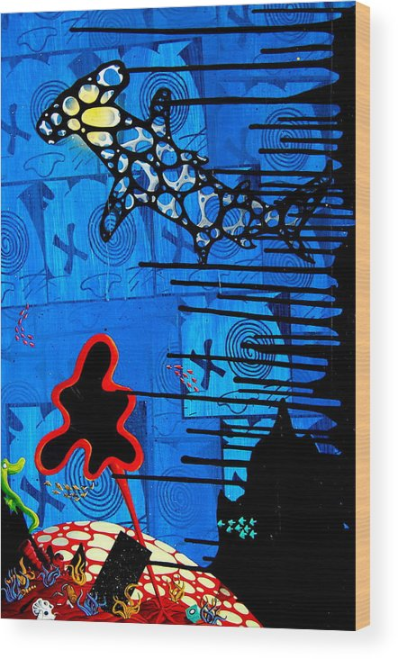 Hammerhead Wood Print featuring the mixed media Blessed Are The Free by A 2 H D