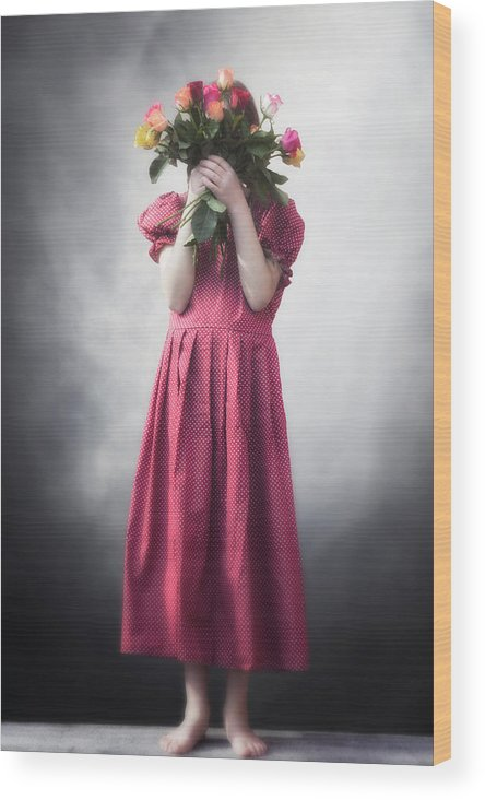 Girl Wood Print featuring the photograph Bouquet Of Flowers by Joana Kruse