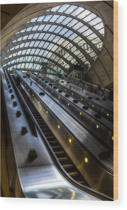 Canary Wharf Wood Print featuring the photograph Canary Wharf Station by David Pyatt